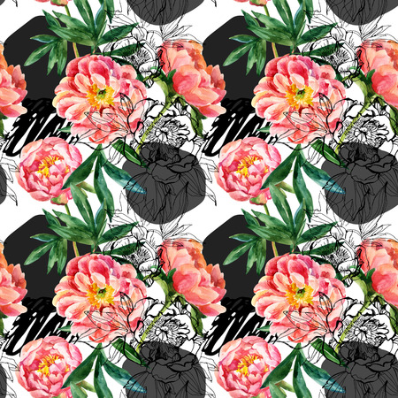 Watercolor and sketch peonies seamless pattern.
