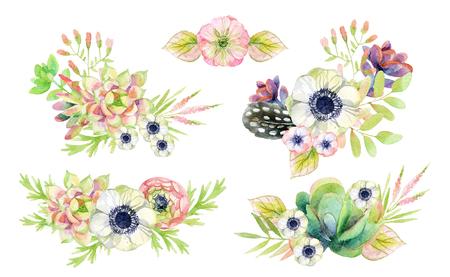 Waterverf bloemstuk in vintage stijl met veren en cactussen.