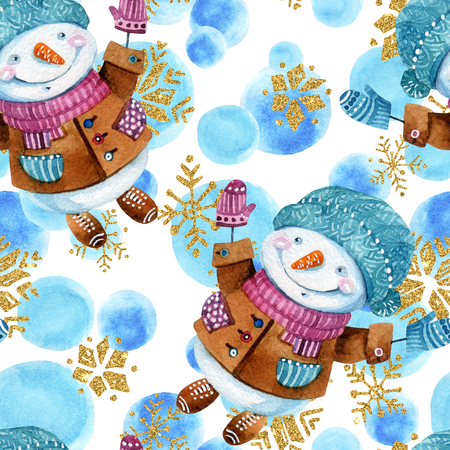 Watercolor cartoon snowman in childish style background. Snowman with cheerful smile among falling snowflakes seamless pattern. Hand painted winter season illustration for christmas, new year design