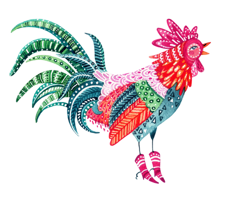 Watercolor ornate rooster isolated on white background. Native patterned rooster - the symbol of chinese new year. Hand painted decorative animal illustration can be used for winter new year design Stock Photo