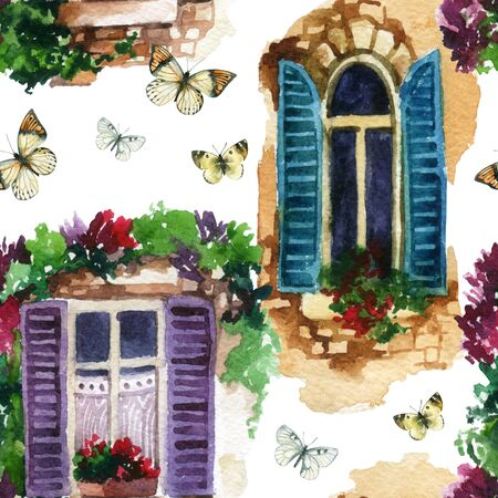 Watercolor traditional old-fashioned window with potted flowers, brick stones and butterfly. Rustic windows with shutters background. Hand painted illustration in vintage style