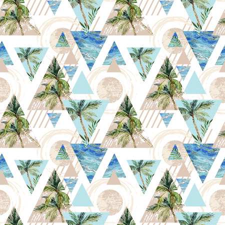 Abstract summer geometric seamless pattern. Circles, triangles with palm tree, leaf and marble grunge textures. Abstract beach background in retro vintage 80s or 90s. Hand painted summer illustration