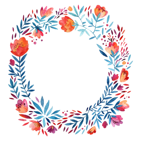 Watercolor cute ornate wreath with detailed flowers, leaves, petals, natural elements. Watercolour flourish circle background. Decorative natural wreath. Hand painted illustration for floral design Imagens