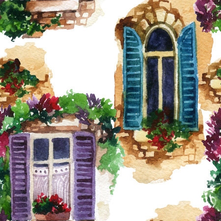 Watercolor traditional old-fashioned window with potted flowers, brick stones. Rustic open windows with shutters on white background. Hand painted illustration for vintage design Stock Photo