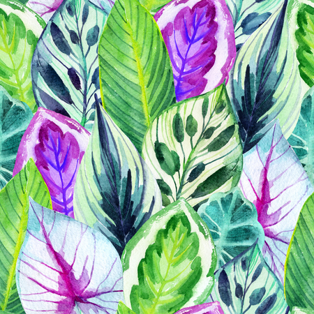 unusual leaves seamless pattern. Hand drawn exotic leaves illustration in watercolor.
