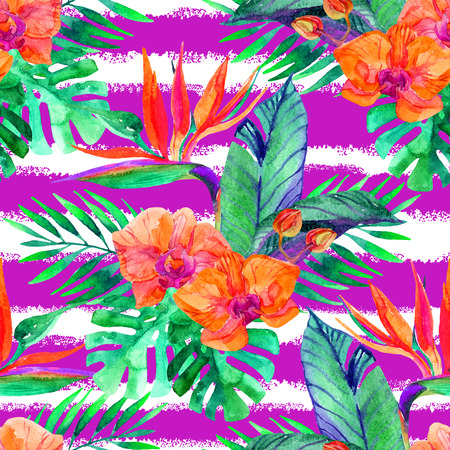 Watercolor tropical leaves and flowers seamless pattern. Hand painted illustration for floral design  background. Stock Photo