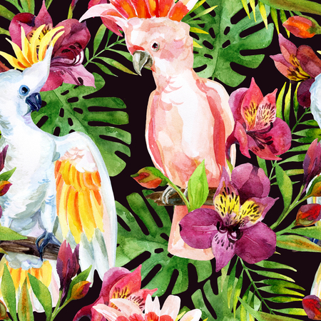 watercolor Australian Cockatoo on flowers background, hand painted seamless patern with parrots, alstroemeria and tropical leaves