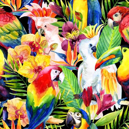 熱帯の花のシームレスなパターンと水彩のオウム。エキゾチックな背景。手描きの鮮やかな色のオウムの種の図 写真素材