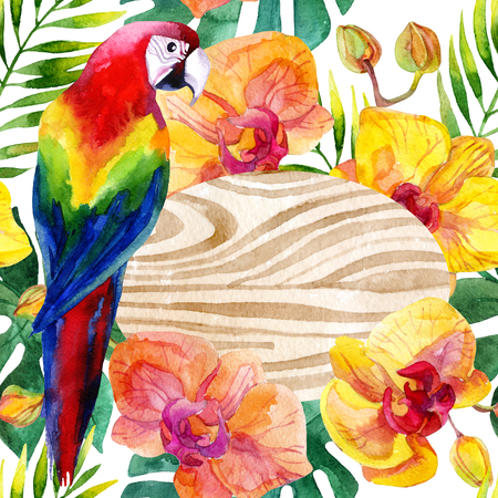 Watercolor card with parrot and orchid flowers on white background