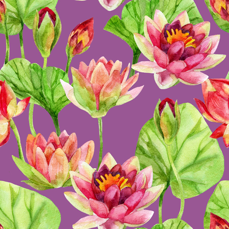 Hand painted lotus flower pattern. Watercolor illustration Imagens