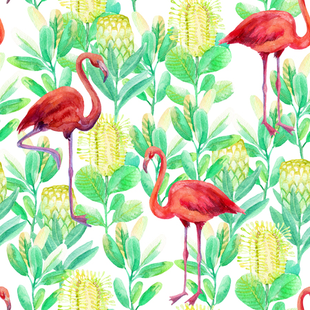 macaw: Seamless pattern with flamingo and jungle flowers on white background