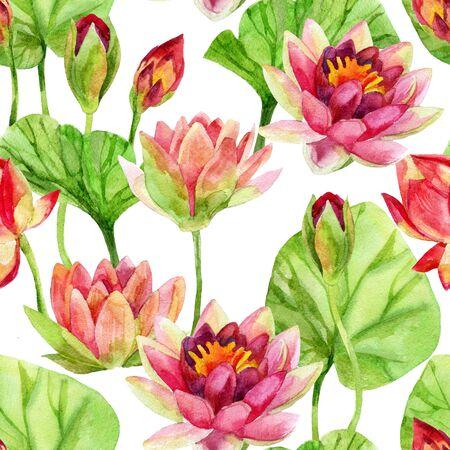 Hand painted lotus flower pattern. Watercolor illustration Фото со стока