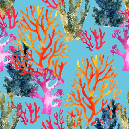 polyp: Hand painted coral reef watercolor pattern. Abstract background