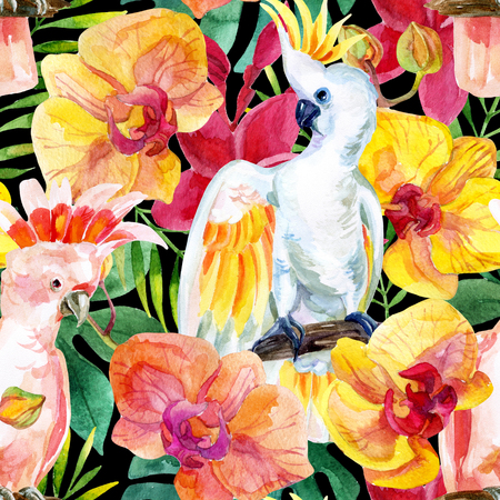 watercolor Australian Cockatoo on flower background, hand painted seamless patern with parrots, exotic flowers and tropical leaves