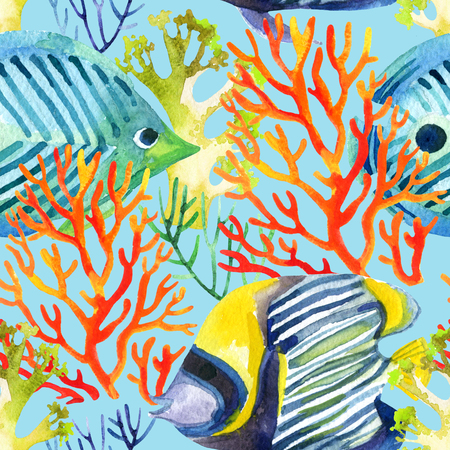 corals and fishes seamless pattern. Watercolor background Stock Photo