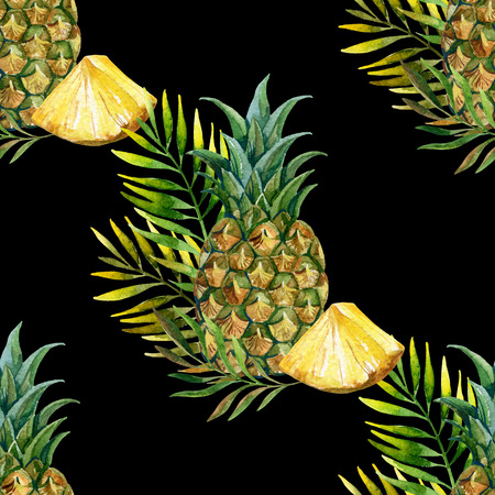 watercolor pineapple seamless pattern. Hand painted illustration
