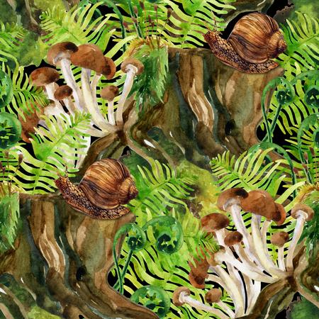 maleza: fondo del herbaje de la acuarela. Woods tocón, seta, hojas, líquenes y caracol patrón transparente. Acuarela colorida ecología de los bosques naturales. Pintado a mano la ilustración de la fauna del bosque Foto de archivo