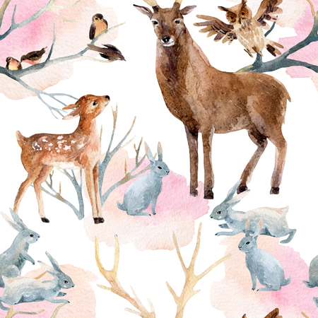 Winter forest seamless pattern. Deer with fawn, rabbits, birds in  winter. Hand painted illustration on white background Stock Photo