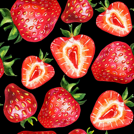 Strawberry seamless pattern. Hand drawn illustration of berries  on black background