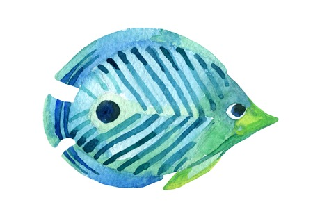 Butterfly fish. Watercolor raster illustration