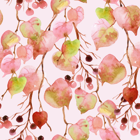 Watercolor autumn leaves, branches and berry seamless pattern. Linden leaves and berries branches seamless pattern on soft toned pink background. Hand painted autumn garden illustration