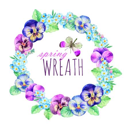 Aquarell-Kranz aus Stiefmütterchen und Vergissmeinnicht. Handgemalter Blumenrahmen für Ihr Design Standard-Bild - 77113096