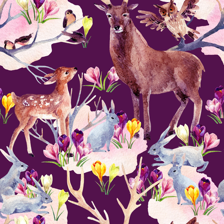 ruminant: Spring forest seamless pattern. Deer with fawn, rabbits, birds and first spring flowers. Hand painted illustration on vivid background