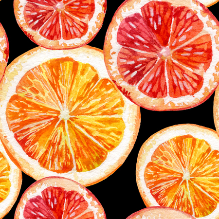 Watercolor seamless pattern with fresh orange and grapefruit. Hand painted illustration