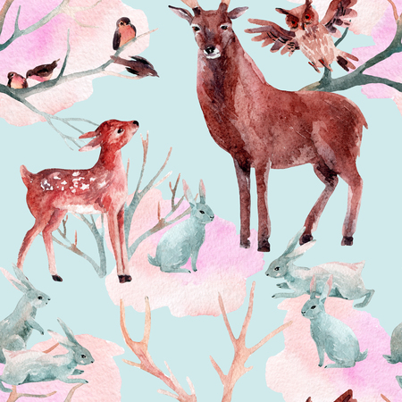 ruminant: Winter forest seamless pattern. Deer with fawn, rabbits, birds in  winter. Hand painted illustration on blue background