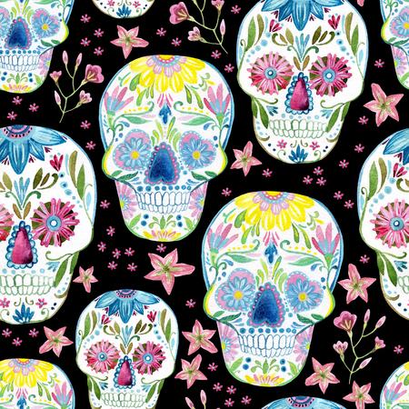 Cráneo de azúcar patrón transparente sobre fondo floral. Ilustración pintada a mano de la acuarela Foto de archivo - 77583442