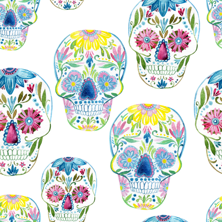 Sugar skull seamless pattern. Hand painted watercolor illustration