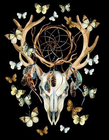 Cráneo de ciervo. Cráneo animal con el dreamcather y la mariposa. Cráneo de ciervos y dreamcatcher étnica con plumas y mariposa aislados sobre fondo negro. Acuarela ilustración pintada a mano.