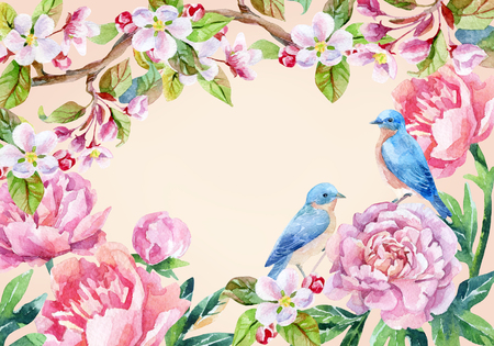 Watercolor floral card and birds. Garden peonies, apple bloom and wisteria flowers on vintage background with blue birds. Hand painted illustration