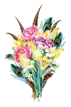 Watercolor flowers bouquet. Watercolor floral garden card with tulip, daffodil, peony and feathers. Flowers isolated on white background. Floral illustration for greetings, invitations, wedding design