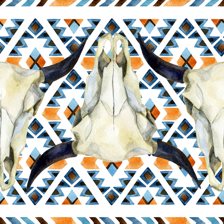 Watercolor ethnic seamless pattern  with buffalo skull. Tribal geometric ornament. Hand painted background