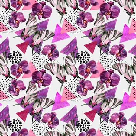 抽象的な自然の幾何学的なシームレス パターン。蝶、蘭、大理石のグランジ テクスチャの三角形。幾何学的な背景を抽象的なレトロなヴィンテージ