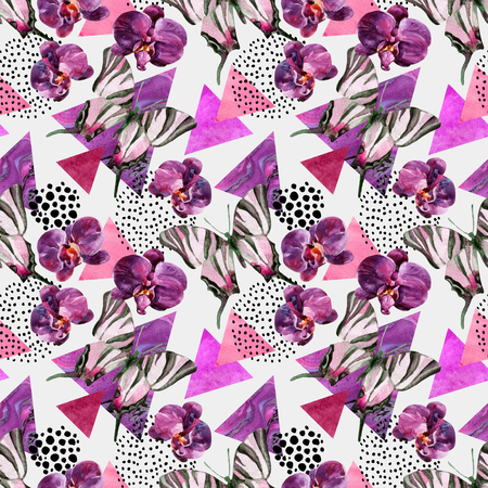 Abstract natural geometric seamless pattern. Triangles with butterfly, orchid and marble grunge textures. Abstract geometric background in retro vintage 80s 90s pop art. Hand drawn floral illustration Zdjęcie Seryjne