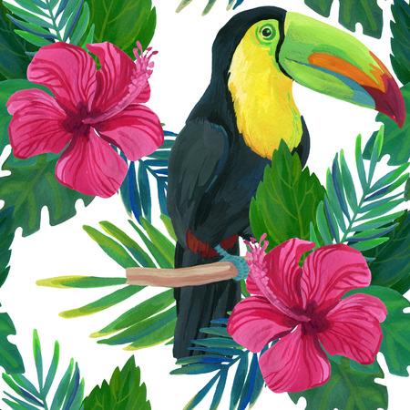 toucan, hibiscus, watercolor Stock Photo