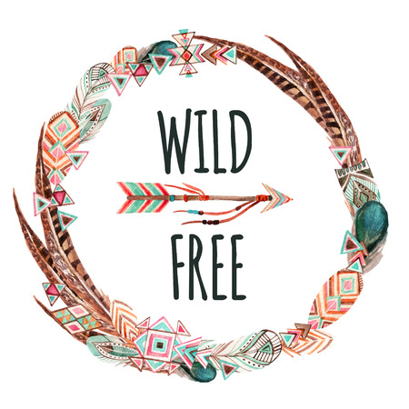 Watercolor wreath with ornate bird feathers and arrow isolated on white background. Wild and free design. Patterned elements in trendy tribal style. 写真素材