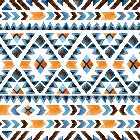 Watercolor ethnic seamless pattern. Geometric ornament. Hand painted background