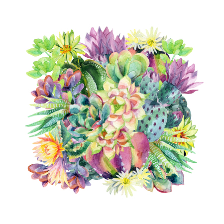 Watercolor blooming cactus background. Exotic cacti with flowers. Succulent plants and cactus in square. Hand painted watercolor illustration for t-shirt, invitation, floral design.