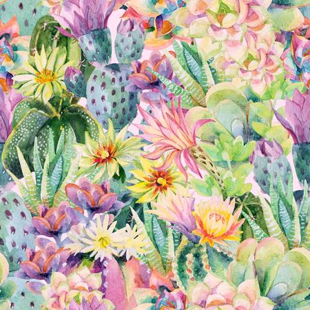 Waterverf bloeiende cactus achtergrond. Exotische cactussen met bloemen naadloze patroon. Succulente planten en cactus tuin patroon. Handgeschilderde aquarel illustratie in vintage kleuren.