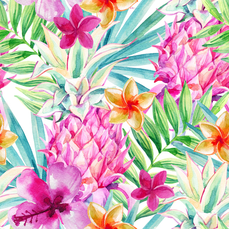 Watercolor pink pineapple fruit seamless pattern. Decorative pineapple with palm leaves and exotic flowers on white background. Ornamental garden plants. Hand painted illustration in bright color