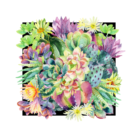 Watercolor blooming cactus background. Exotic cacti with flowers. Succulent plants and cactus in black frame. Hand painted watercolor illustration for t-shirt, invitation, floral design.