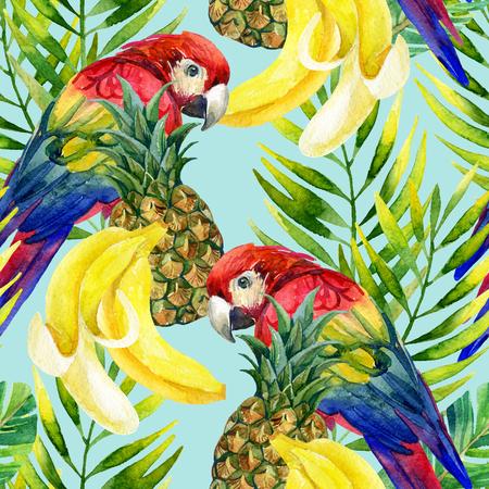 熱帯の背景。オウムと果物のシームレスなパターン。手描きのイラスト 写真素材