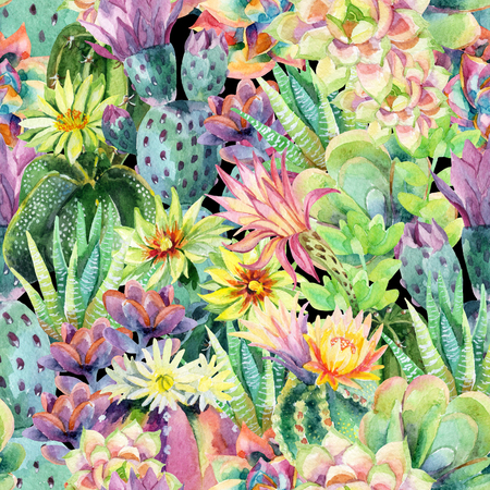 Watercolor blooming cactus background. Exotic cacti with flowers. Succulent plants and cactus garden pattern. Hand painted watercolor illustration. Imagens