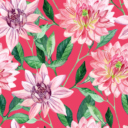aster: Watercolor aster seamless pattern. Hand painted illustration