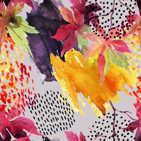 Autumn watercolor japanese maple leaf and doodle seamless pattern. Doodles and watercolour paper textures drawing. Abstract and natural background for fall design. Hand painted illustration on grey Stock Photo