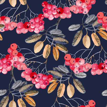 Watercolor rowan branches background. Hand painted illustration