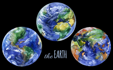 Watercolor planet earth views. Americas, europe and asia views. Hand painted planet set for the Earth day design. Watercolor  earth planet views illustration isolated on black background Stock Photo